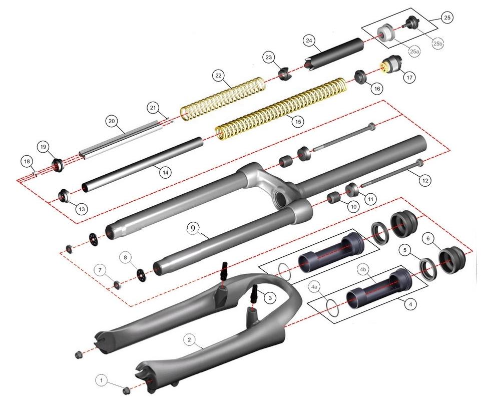 Конструкция пружинно-эластомерной вилки